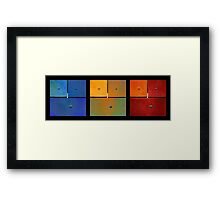 Triptych Blue Green Red - Colorful Rust Framed Print
