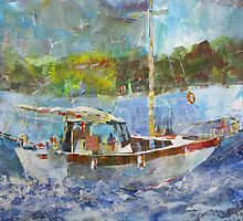 Painting Of Boat At Sea - Sailing & Boats Art Gallery by Ballet Dance-Artist