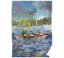 Painting Of Boat At Sea - Sailing & Boats Art Gallery Poster