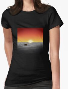 Burger At Sea Womens Fitted T-Shirt