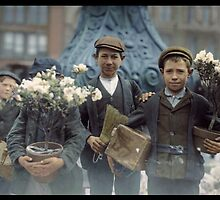 Boys with Flowers, New York. 1908. by Dana Keller