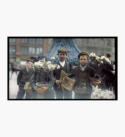 Boys with Flowers, New York. 1908. Photographic Print