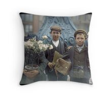 Boys with Flowers, New York. 1908. Throw Pillow
