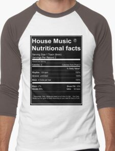House Music Nutritional Facts Men's Baseball ¾ T-Shirt