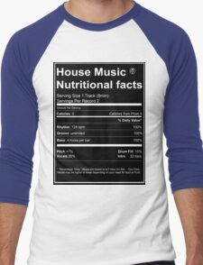 House Music Nutritional Facts Men's Baseball ¾ T-Shirt