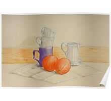 Still life with cups and oranges Poster