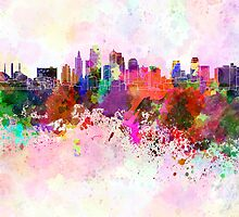 Kansas City skyline in watercolor background by Pablo Romero
