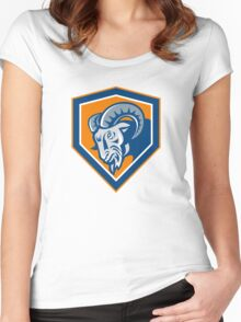 Ram Mountain Goat Head Shield Retro Women's Fitted Scoop T-Shirt