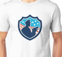 American Security Guard With Police Dog Shield Unisex T-Shirt