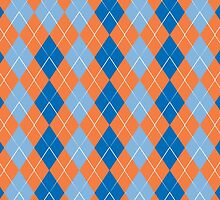 blue and orange rhombus pattern background by elgreko