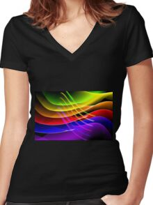 Rainbow Waves Women's Fitted V-Neck T-Shirt
