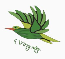 A Green Cartoon Bird Flying High T-shirt Kids Tee