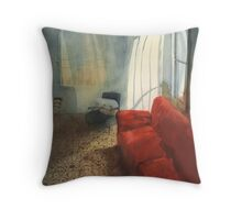 Red sofa Throw Pillow