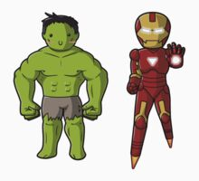 Chibi Hulk and Iron Man by myfluffy