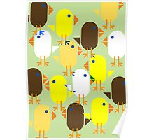 Colourful Easter Chicks pattern Poster