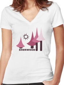 Wyld Sherwood Forest t-shirt (in berry) Women's Fitted V-Neck T-Shirt