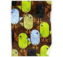 Farmyard chicks & straw pattern Poster