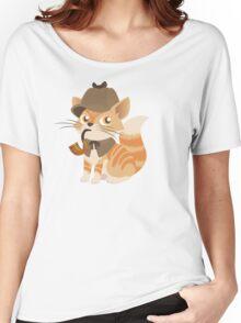 Cute Sherlock Holmes Kitten Women's Relaxed Fit T-Shirt