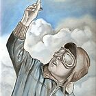 Aviator, pilot oil painting by RobCrandall