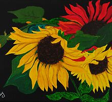 Sunflowers in the Blackness by Anne Gitto