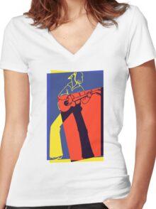 Retro Pop Art Guitarist Women's Fitted V-Neck T-Shirt