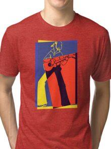 Retro Pop Art Guitarist Tri-blend T-Shirt