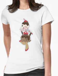 Ice Cream Scoop Cherry on Top Womens Fitted T-Shirt