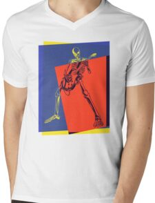 Pop Art Skeleton Rocker Mens V-Neck T-Shirt