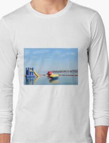 beach toys and equipment floating on sea Long Sleeve T-Shirt