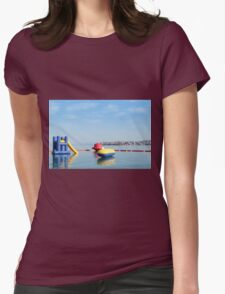 beach toys and equipment floating on sea Womens Fitted T-Shirt