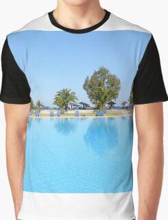 swimming pool summer vacation scene Graphic T-Shirt