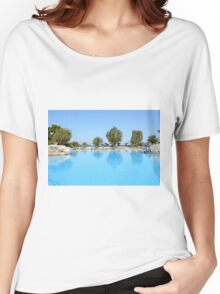 swimming pool summer vacation scene Women's Relaxed Fit T-Shirt