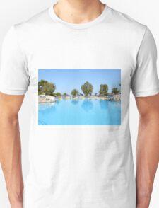 swimming pool summer vacation scene Unisex T-Shirt