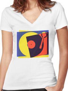 Pop Art Turntable Women's Fitted V-Neck T-Shirt