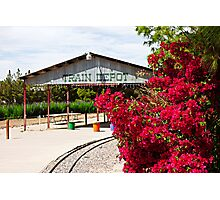 Bougainvillea and Train Depot Photographic Print