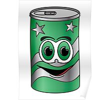 Green Soda Can Cartoon Poster