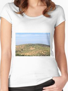 hill with olives trees Women's Fitted Scoop T-Shirt