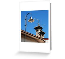 Old Stone Chimney and Street Light Greeting Card
