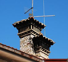 Old Stone Chimney Against Blue Sky by jojobob
