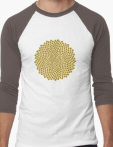 Sunflower Seed Fibonacci Spiral Golden Ratio Math Mathematics Geometry Men's Baseball ¾ T-Shirt