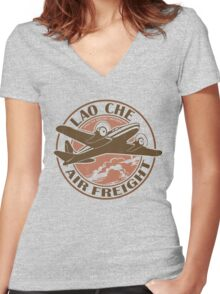 Lao Che Air Freight Women's Fitted V-Neck T-Shirt