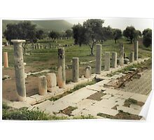 Vintage photo of ruins of in ancient city Poster