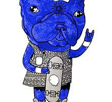Blue cartoon bulldog poster by Julie Johannesen