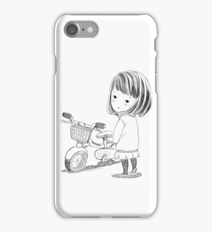 Girl with bicycle iPhone Case/Skin