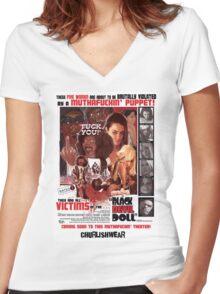 BLACK DEVIL DOLL Women's Fitted V-Neck T-Shirt