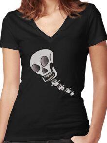 Skull & Spine Women's Fitted V-Neck T-Shirt