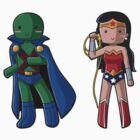 Chibi Martian Manhunter and Wonder Woman by myfluffy