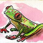 Buddy - froggie watercolor painting by Rebecca Rees