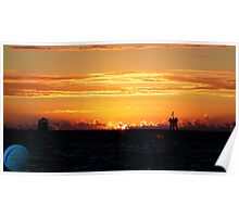 Sunset over the gulf Poster