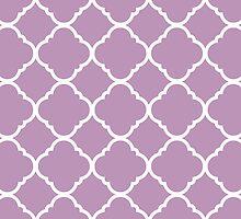 Violet Purple White Quatrefoil Pattern by cikedo